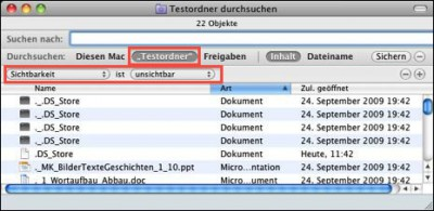 Versteckte Dateien suchen